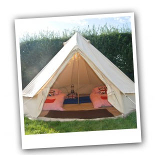 Pillow pre-erected tent available for Wychwood Festival.
