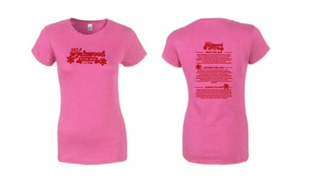 Wychwood Festival 2017 Ladies T-Shirt in pink.
